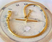 Vintage Pocket Watch Chain 1970s 12ct Gold Plated Snake Link Albert & T Bar (4 of 9)
