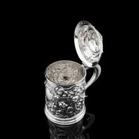 Antique Solid Sterling Silver Large Tankard with Royal Marines Officer Interest - Goldsmiths & Silversmiths Co 1900 (12 of 28)