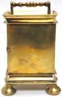 Rare Little Verge Carriage Clock Timepiece, Ormolu cased Silver Dial Mantel Clock (7 of 9)