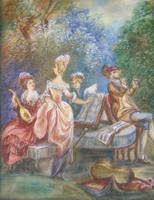 Beautiful Miniature Painting after Boucher Musicians in a Woodland (3 of 7)