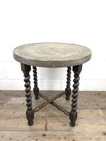 Antique Middle Eastern Design Brass Top Folding Table