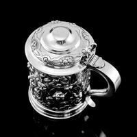 Antique Solid Sterling Silver Large Tankard with Royal Marines Officer Interest - Goldsmiths & Silversmiths Co 1900 (16 of 28)