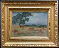 Original Early 1900s Edwardian Country Harvesting Landscape Oil Painting