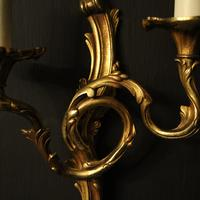 French Set of 4 Gilded Opposing Twin Arm Wall Lights (6 of 9)