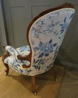 Victorian Walnut Armchair New Upholstery c.1860 (4 of 11)