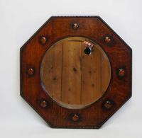 Early 20th c Oak octagonal  bevel edged overmantle mirror (2 of 8)