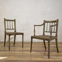 Charming Near Pair of Regency Green Painted Occasional / Elbow Chairs