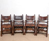 4 Dining Chairs Ships Nautical Chairs Oak Leather 19th Century (2 of 10)