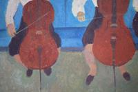 Mid Century Oil Painting on Board Three Cellists by Horas Kennedy (7 of 9)