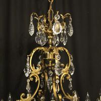 French Bronze & Crystal 12 Light Chandelier (4 of 10)