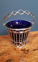 Antique Solid Silver & Bristol Blue Glass Basket (6 of 6)