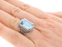 11.81ct Aquamarine & Platinum Cocktail Ring - Vintage c.1950 (2 of 9)