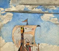 Unusual Original 19thc Seascape watercolour Painting - 11thc Vikings & Longboat (7 of 11)
