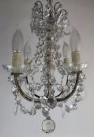 Vintage French Petite Chandelier 4 Arm Crystal Ceiling Light (4 of 6)