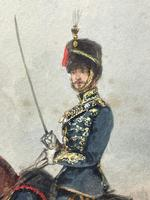 Military Watercolour Prince of Wales Own 10th Royal Hussars Guard on Horseback by Henry Martens c.1850 (7 of 53)