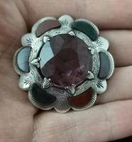 Victorian Scottish Agate & Amethyst Brooch, Sterling Silver (10 of 11)