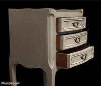 Vintage French Bedside Cabinets Painted in Rustic Grey (3 of 5)