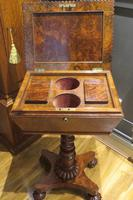 Exceptional Tea Poy Tea Caddy on Stand Burr Walnut (5 of 7)