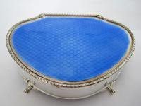 Large Silver Jewellery or Trinket Box with Blue Enamel Lid (2 of 8)