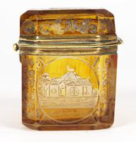 Bohemian Antique Engraved Metal Mounted Overlay Yellow Glass Sugar Casket 19th Century (4 of 19)