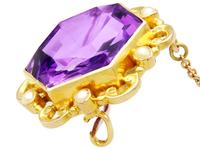12.50ct Amethyst & Seed Pearl, 15ct Yellow Gold Brooch - Antique c.1890 (6 of 9)