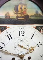 19thc English 8 Day Longcase Clock Mahogany Case Galleon Painted Dial Grandfather Clock (15 of 19)