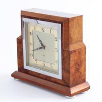 Smiths Art Deco Burr Walnut Cased 8-Day Mantle Clock c1935 (5 of 9)