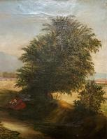 19thc British School - Travellers at Rest - Stunning Landscape Oil Painting (3 of 12)