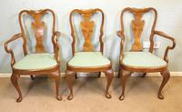 Set of Eight Queen Anne Style Walnut Dining Chairs (3 of 15)