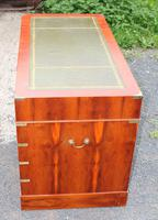 1960s Yew Wood Pedestal Desk with Green Leather Top- Military Style (3 of 5)
