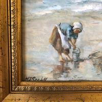 M J Rendall 20th Century Shell Pickers Oil Painting (4 of 5)