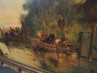 Large Antique Windmill Landscape Oil Painting on Canvas (6 of 12)