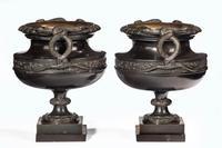 Handsome Pair of 19th Century Bronze Neoclassic Urns (5 of 6)