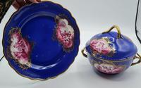 Dresden 19th Century Porcelain Ecuelle, Antique German Porcelain Covered Bowl Plate (3 of 7)