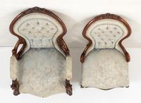 Pretty Pair of Victorian His and Her Walnut Parlour Chairs (4 of 9)