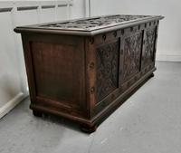 Large 18th Century Carved Oak Coffer (4 of 7)