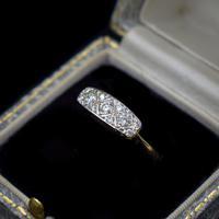 Antique Diamond 11 Stone 18ct 18K Yellow Gold & Platinum Ring (9 of 10)