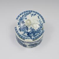 First Period Worcester Porcelain Butter Tub & Stand The Fence Pattern c.1770 (5 of 9)