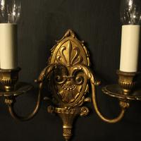 French Gilded Brass Twin Arm Antique Wall Lights (8 of 10)