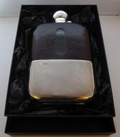 Shop Display James Dixon Solid Silver Leather Bound Glass Hip Flask 1 1/4 Pint (6 of 14)