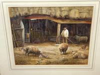 "Watercolour ""Tending The Sheep"" By Bertha Rhodes RA Rca Exh 1905 -1912 (40 of 41)"