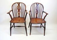 Pair Georgian Oak & Elm  Windsor armchairs (18 of 20)