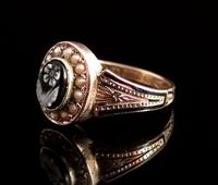 Antique Victorian Mourning Ring, 15ct Gold, Black Enamel & Seed Pearl, Agate Forget me Not (6 of 13)