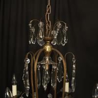 French Gilded Crystal Birdcage 5 Light Antique Chandelier (10 of 10)