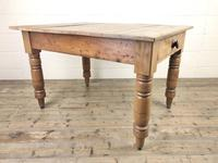 Antique Pine Farmhouse Kitchen Table with Oak Top (6 of 9)