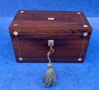 William IV Rosewood Twin Section Tea Caddy with Mother of Pearl Inlay (2 of 14)