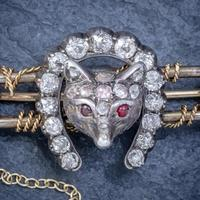 Antique Victorian Diamond Fox Hunting Riding Brooch Silver 18ct Gold 2ct of Diamond c.1900 (6 of 7)