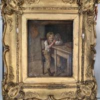 Antique Georgian oil painting study of boy in kitchen scullery with pewter plate (8 of 10)