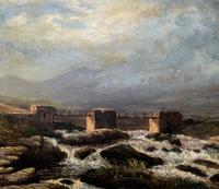 Original 19th Century Period Antique Scottish Highland Bridge Landscape Oil Painting (3 of 11)