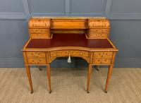Inlaid Satinwood Carlton House Desk by Jas Shoolbred (24 of 25)